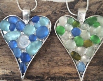 Scottish Sea Glass Pebble   micro mosaic heart pendant with silver chain.