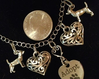 ADOPT A CHIHUAHUA Necklace In Antique Silver Benefits Pet/Animal Rescue