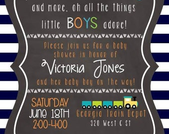 Planes, Cars & Trucks Baby Boy Shower Invitation w/ Baby's Library Card