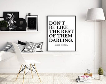 Coco Chanel Quote Printable Wall Art Poster