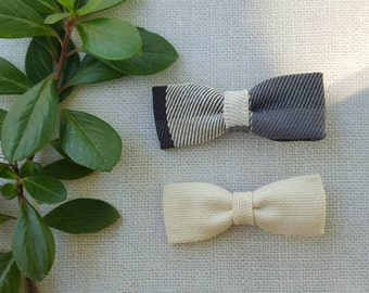 Girls small bows, grey and cream