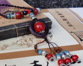 Handmade Wood Jingdenzhen Ceramic Porcelain Beads Necklace  with Asian Ethnic flair