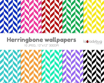 Herringbone digital paper, herringbone wallpaper, herringbonebackground. 10 bright colors, JPEG files.  Instant download.