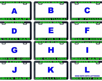 Green m&m's mm funny assorted license plate frame