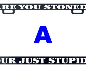 Are you stoned or just stupid funny license plate frame