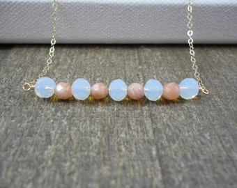 14k gold filled sterling silver sunstone moonstone bead bar necklace / bridesmaid necklace / dainty necklace / minimalist / June birthstone