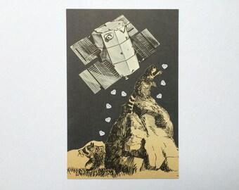 Raccoons in space greeting card!