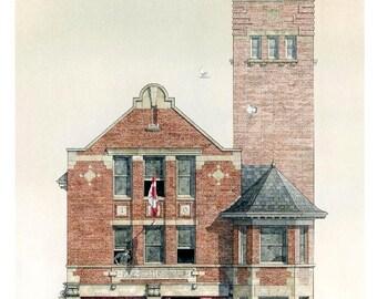 Fireman Greeting Card, Hall 23, Howland Ave. Toronto // Fire Station, Fire Hall, Toronto art, Toronto history, Architect, Engineer, Planner.