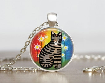 """Cat Funky Style Silver Glass Tile Pendant Necklace, Cat Animal Jewelry Pendant, 1"""" Round"""