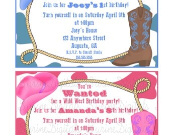Cow Boy or Cow Girl Birthday Invitation, Country Western theme Birthday Party Invite, Rodeo Birthday Party Invite