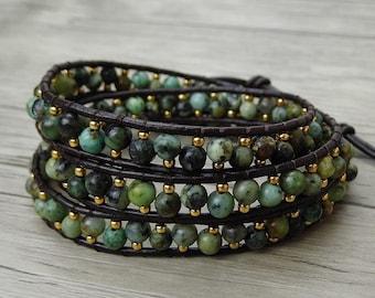 Leather Wrap Bracelet Gypsy bead wrap bracelet boho bead bracelet women gemstone wrap bracelet African turquoise bracelet Jewelry SL-0413