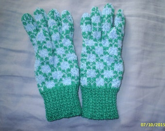 Blue / Green hand knitted jacquard gloves