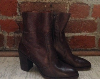 Authentic Brown Leather Sock Booties sz 7.5