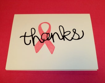 Breast Cancer, thank you, card, handstamped, handmade, set of cards