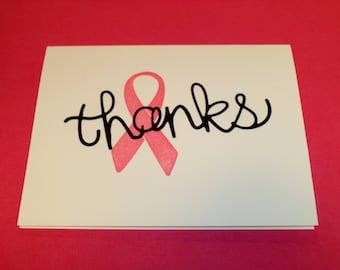Breast Cancer, thank you, card, handstamped, handmade, set of cards