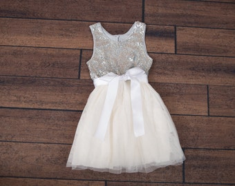 Silver Sequin Flower Girl Dress, Ivory Tulle, Miniature Bride Dress, Teen Bridesmaid Dress, Silver Glitter, Ivory tutu dress, Navy Sash
