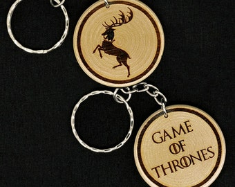 Game Of Thrones House Baratheon Customizable hand made engraved wood keyring keychain by JayEngrave