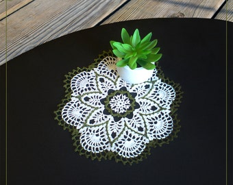 """small Color Crochet Doily 9.4"""" lace color doily white + dark green"""