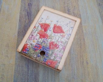 Wooden box Wildflowers wood box light box wooden decoupage box home decoration storage box decorative box decoupaged box storage poppies