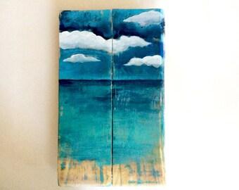 Reclaimed Wood Ocean Painting Wall Art for Beach House Shabby Chic Ocean Art