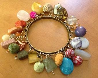Stone, Glass Charm Bracelet