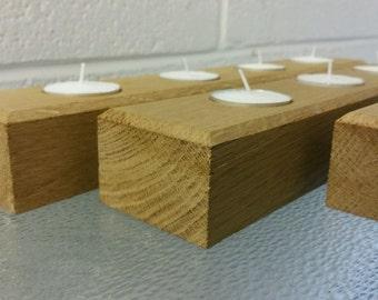 Handmade Oak Tea Light Holders New Candles Inc.