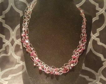 Garnet beaded wire crochet necklace