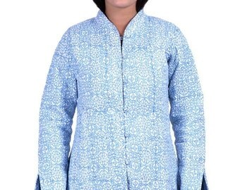Blue Print Reversible Quilted Jacket