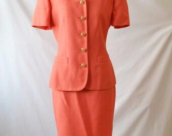 Vintage Orange Skirt Suit Coral blazer Coral skirt suit Short sleeve suit Kasper for ASL Size 4