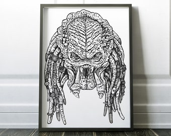 Get to the Chopper! Predator - Wall Decor - Artwork- Painting - Illustration - Home Decor