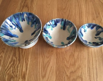 Set of Ceramic Serving Dishes/ Colourful Dishes/ Blue Dishes/ Handmade Serving Bowls/Unique Tableware/ Colourful Dinnerware Collection