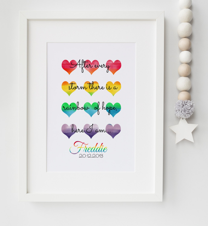 Personalised New Baby Boy Girl Birth Rainbow Baby Nursery Print