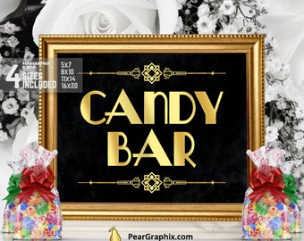 Candy Bar Sign, Printable Gatsby Wedding Bridal Shower Anniversary Bachelorette Party Decorations, 20s Party Candy Buffet Great Gatsby Party