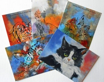 "Five artist' postcards ""cats"" with envelope"
