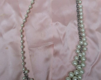 Faux Pearls, Cluster Necklace, adjustable, Talbots, Long