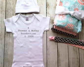 Baby Girl Gift Set, Production Onesie, Custom Baby Gift, Baby Coming Home Outfit, Monogram Baby Gift, Baby Shower Gift Idea