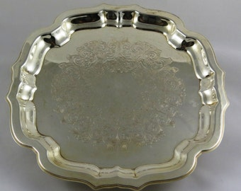 Vintage Silver Tray, Footed