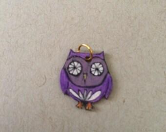 Cute purple owl pendant