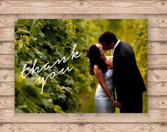 Photo Card Wedding Thank You Cards - Print At Home File or Printed Cards - Personalised Thank You Cards - Folded Card or Postcard Design