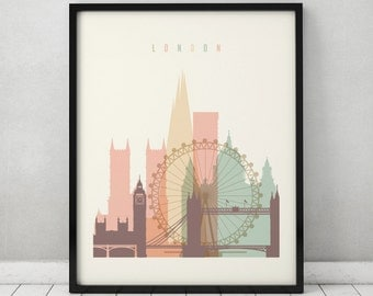 London print, Poster, Wall art, cityscape, London skyline, City poster, Typography art, Gift, Home Decor, Digital Print, ArtPrintsVicky