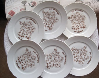 Tirschenreuth French Fromage (Cheese) Plates Set of 6 Vintage