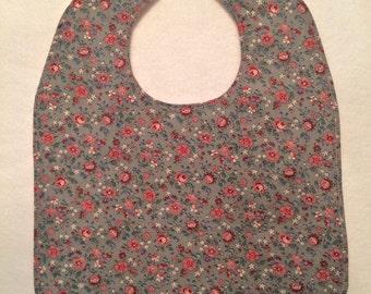 Reversible Baby Bib - Vintage Floral Print - FREE U.S. SHIPPING