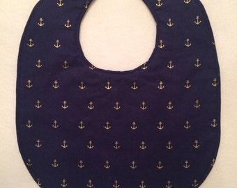 Reversible Baby Bib - Nautical Print - FREE U.S. SHIPPING