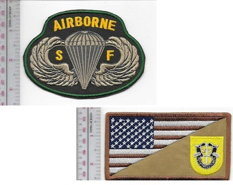 Green Beret US Army 1st Special Forces Group Airborne & SF Parachutist Wings