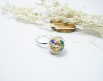 Real Flower Jewelry,Mix dry Flower Ring, Resin Jewelry, Real Pressed Flower Gold Ring, Simple Ring, Real Flower Rings, Cool Ring