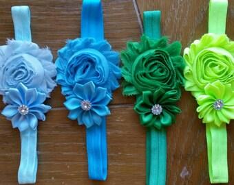 Little Girl Headband// Flower Headband// Shabby Chic// Newborn Headband