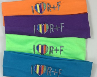 Rodan and Fields Inspired regimen colors- I Love (heart) R and F Headbands Embroidered Sets of 4 or more