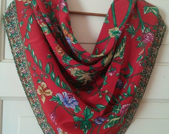 Red Silk Botanical Scarf // large red floral scarf, 1980's