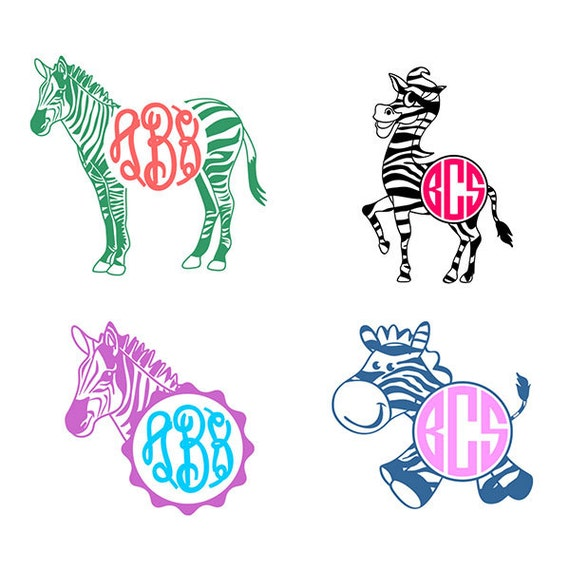 Zebra frame monogram cuttable designs svg dxf eps use with