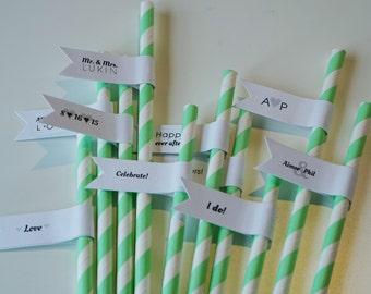 Wedding Decor / 125 Wedding Straws with Custom Flags / Paper Straws / Wedding Straws / Party Straws / Custom Straws / Custom Wedding Straws